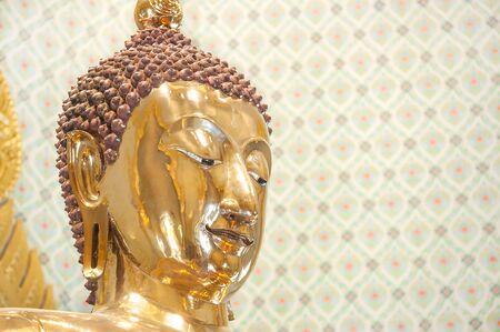 wat traimit: Closeup of the Wat Traimit Golden Buddha, Bangkok Stock Photo