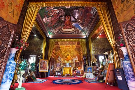 Ornate interior of Wat Buppharam, Chiang Mai, Thailand