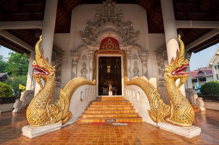 serpents: Twin naga serpents at the entrance to Wat Chedi Luang, Chiang Mai, Thailand