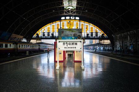 Destination sign on the platform of Hua Lamphong railway station, Bangkok, Thailand