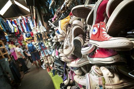 bangkok: Old Converse trainers at Chatuchak Market, Bangkok