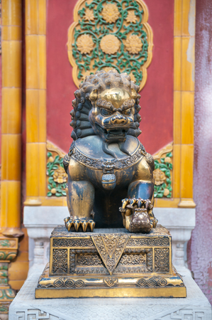 Bronze lion statue at the Forbidden City, Beijing