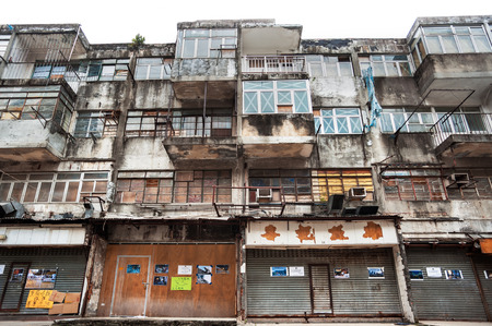 Abandoned housing in the Kwun Tong district of Hong Kong Editorial