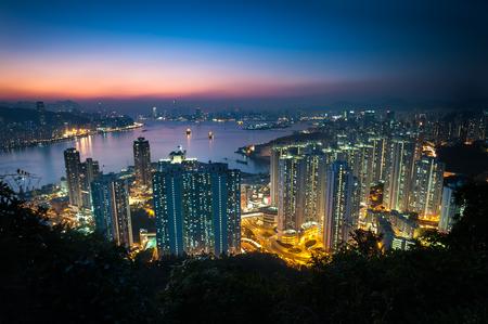 apartment blocks: Illuminated high-rise apartment blocks in Yau Tong as seen from Devils Peak, Kowloon Stock Photo