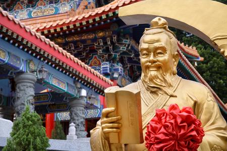 Statue of the God of marriage Yue Lao at Wong Tai Sin Temple, Hong Kong
