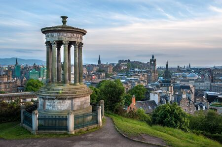 View of Edinburgh from Calton Hill with the Dugald Stewart Monument in the foreground
