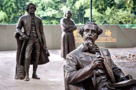 世界文学巨大広場のチャールズ・ディケンズ像、Lu Xun Park、上海
