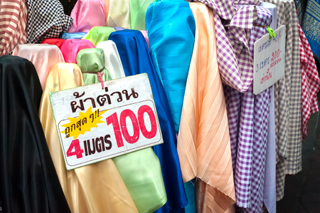 Colourful fabric on sale at Sampeng Lane Market, Bangkok