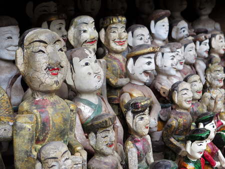 Collection of Vietnamese water puppets at the Temple of Literature, Hanoi, Vietnam