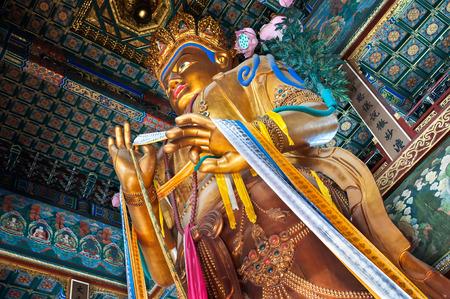 Maitreya Buddha statue in the Hall of Boundless Happiness, Lama Temple, Beijing