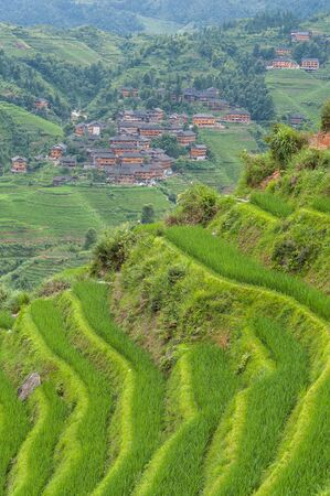 A view of a village on the Longsheng Rice Terraces, Guilin, China
