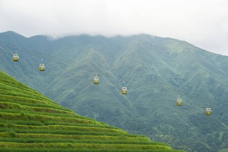 Cable cars at the Longsheng Rice Terraces, Guilin, China Stock Photo