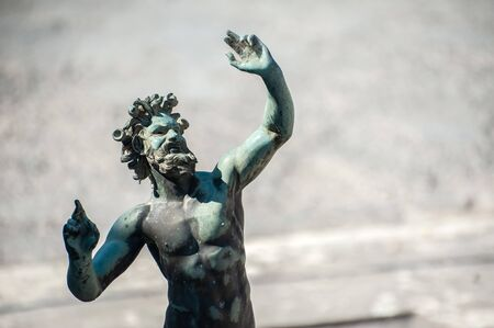 Statue of the Dancing Faun at the House of the Faun, Pompeii, Italy