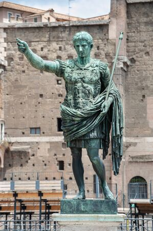 Bronze statue of the first Roman Emperor Augustus Caesar on the via dei Fori Imperiali, Rome, Italy