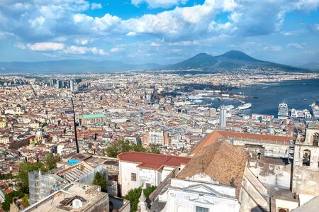 Panoramic view of Naples and Mount Vesuvius as seen from Castel Sant Elmo above Certosa di San Martino