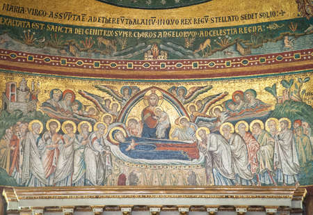 Jacopo Torriti's mosaic 'The Dormition of the Virgin Mary' (1296) in the apse of the Papal Basilica of Santa Maria Maggiore, Rome, Italy