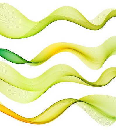 wave vector: Vector Set of green transparent smoke wave