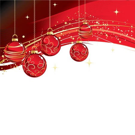gold ornament: Merry Christmas card with red bauble . Vector illustration. Illustration