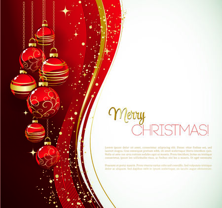invitation card: Merry Christmas card with red bauble . Vector illustration. Illustration
