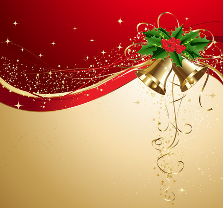 christmas banner: Vector Christmas card with gold bells and holly