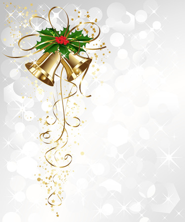 campanula: Vector Christmas card with gold bells and holly