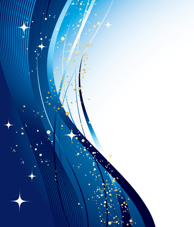 blue star background: Vector Blue christmas background with wave and star