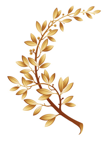 laurel branch: The vector illustration contains the image of gold laurel branch