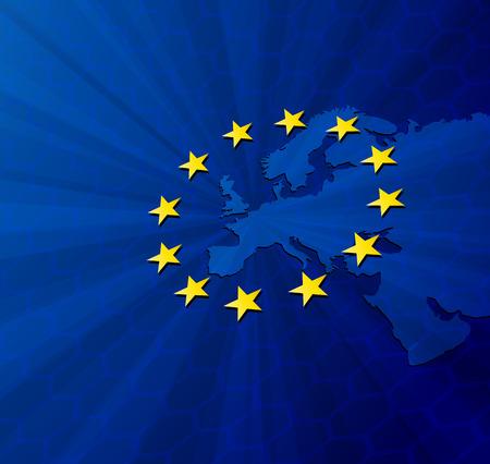 Vector illustration blue Europe map Stock Illustratie