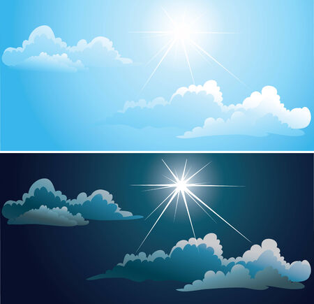 Vector Blue and nightly sky with white clouds