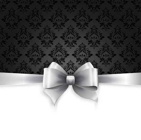 Vector Invitation card with Silver holiday ribbon on vintage background