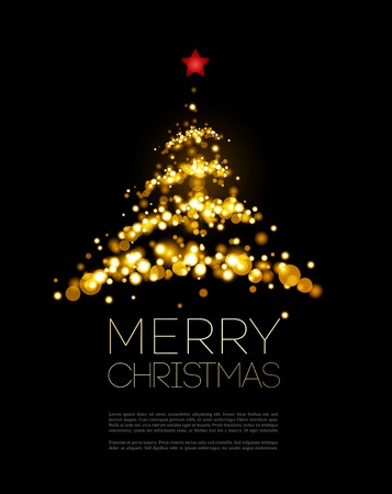 Shiny Christmas tree  in black poster . Vector illustration.
