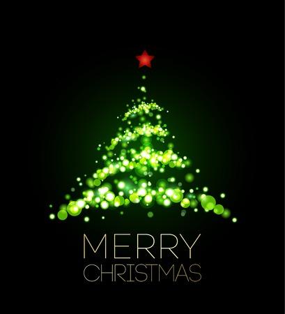黒のポスターで光沢のあるクリスマス ツリー。ベクトルの図。