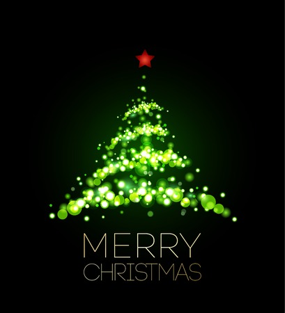 green and red: Shiny Christmas tree  in black poster . Vector illustration.