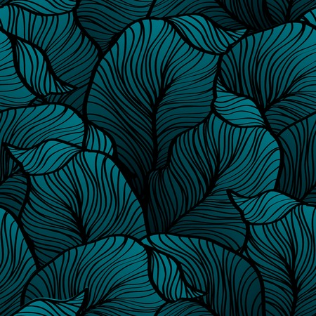 Vector illustration Retro seamless pattern with abstract doodle leaves  イラスト・ベクター素材