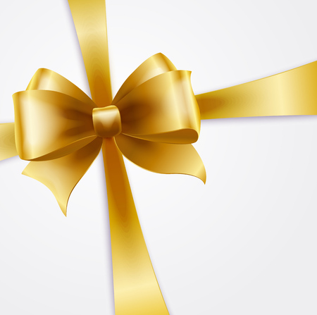 silk bow: Vector Invitation card with gold holiday ribbon and bow