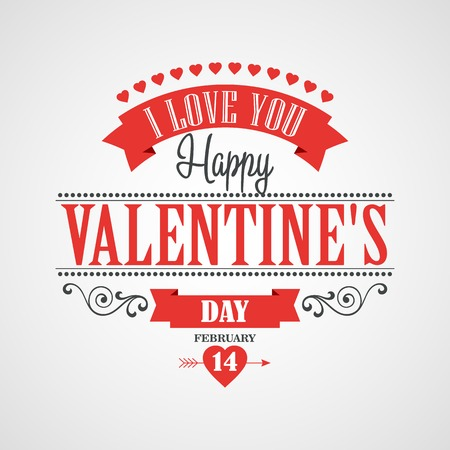 valentine's day: Happy Valentines Day Lettering Card. Typographic Background With Ornaments, Hearts, Ribbon and Arrow