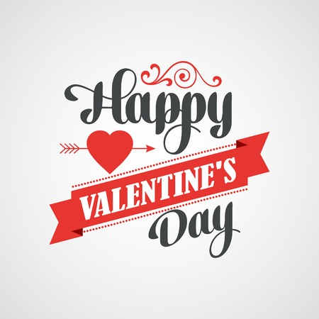 happy valentines day: Happy Valentines Day Lettering Card. Typographic Background With Ornaments, Hearts, Ribbon and Arrow