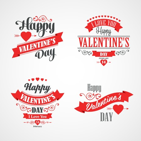 romance: Happy Valentines Day Lettering Card. Typographic Background With Ornaments, Hearts, Ribbon and Arrow