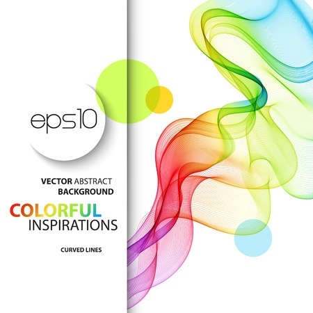 rainbow print: Vector Abstract smoky waves  background. Template brochure design Illustration