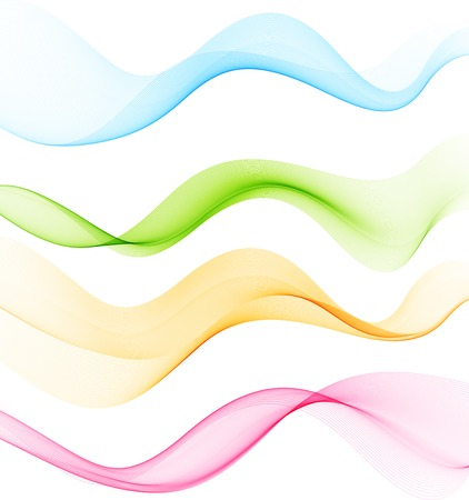 curved lines: Vector Set of  color Abstract smoke  curved lines Illustration