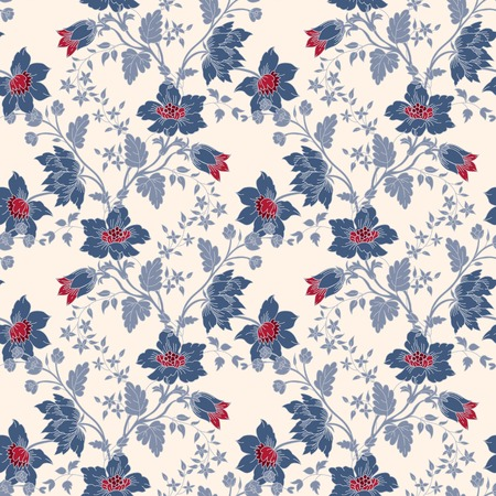 white victorian old retro vintage: Vector vintage floral seamless with blue flower