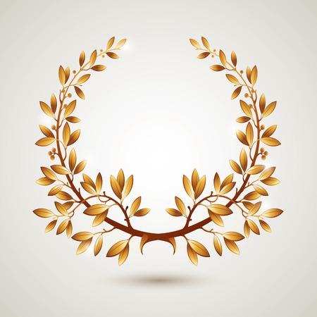 Vector gold laurel wreath. Leaves pattern.
