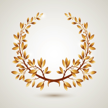 Vector gold laurel wreath. Leaves pattern.
