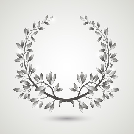 Vector silver laurel wreath with shadow.