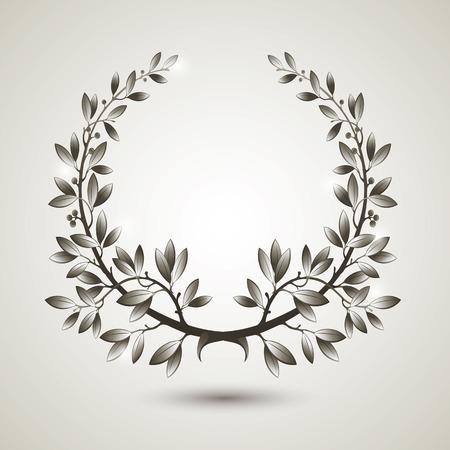 mvp: Vector silver laurel wreath with shadow.