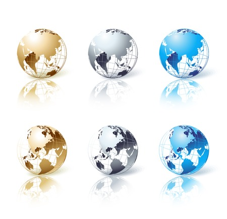 maps globes: Vector Set of silver, gold and blue isolated globe