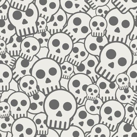 Vector illustration Seamless pattern, skull horror background