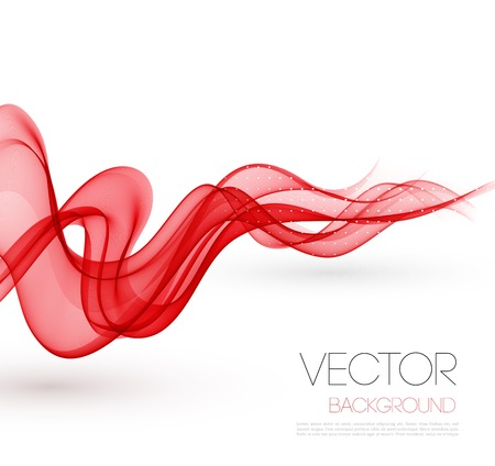 Vector Abstract red smoky waves  background. Template brochure design