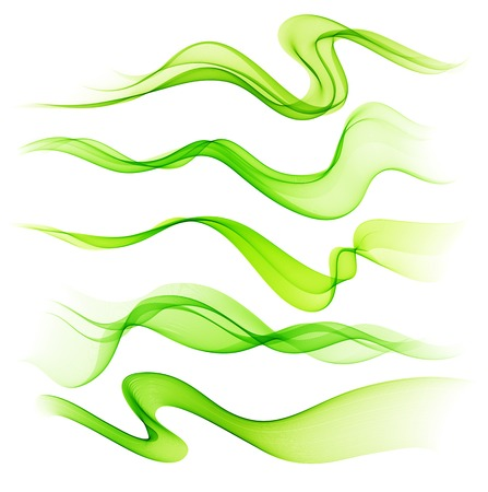 smooth shadow: Vector Set of  color Abstract smoke  curved lines Illustration