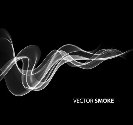 incienso: Ilustración vectorial humo realista sobre fondo negro